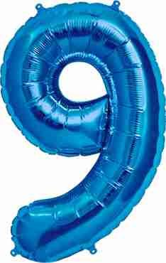 9 Blue Foil Number 16in/40cm