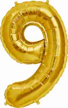 9 Gold Foil Number 7in/18cm