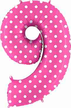 9 Pois Fuchsia Foil Number 40in/100cm