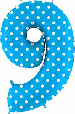 9 Pois Turquoise Foil Number 40in/100cm