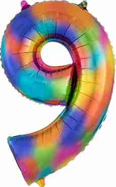 9 Rainbow Splash Foil Number 35in/88cm