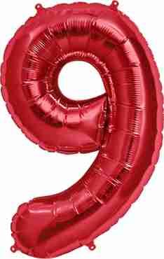 9 Red Foil Number 34in/86cm