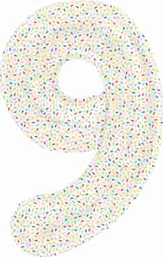 9 Sprinkles Foil Number 16in/40cm