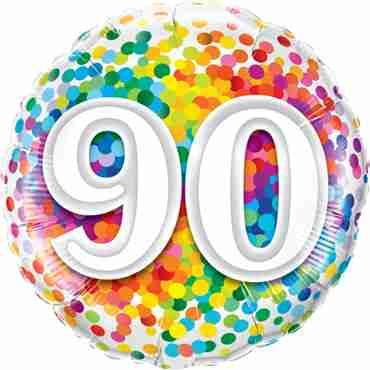 90 Rainbow Confetti Foil Round 18in/45cm