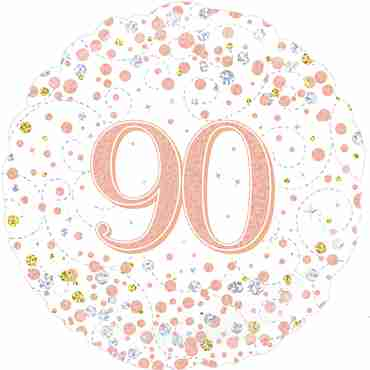 90th Sparkling Fizz Birthday White and Rose Gold Holographic Foil Round 18in/45cm