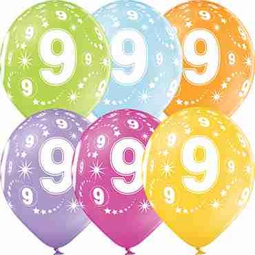 9th Birthday Pastel Apple Green, Pastel Bright Yellow, Pastel Orange, Pastel Rose, Pastel Lavender and Pastel Sky Blue Assortment Latex Round 12in/30cm