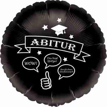abitur black w/white ink foil round 18in/45cm