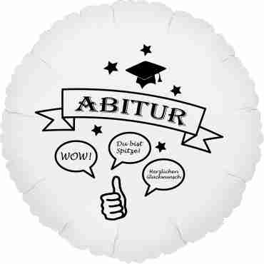 abitur metallic white w/black ink foil round 18in/45cm