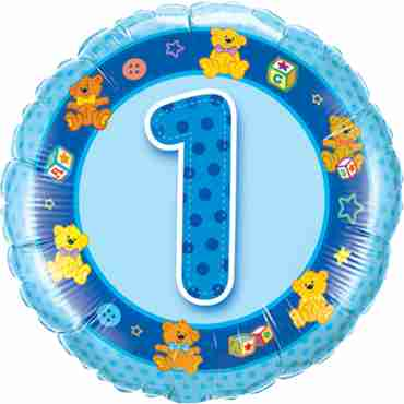 Age 1 Blue Teddies Foil Round 18in/45cm
