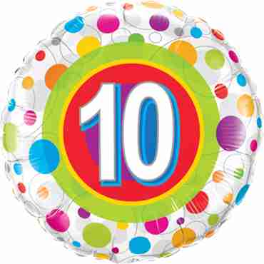 Age 10 Colourful Dots Foil Round 18in/45cm