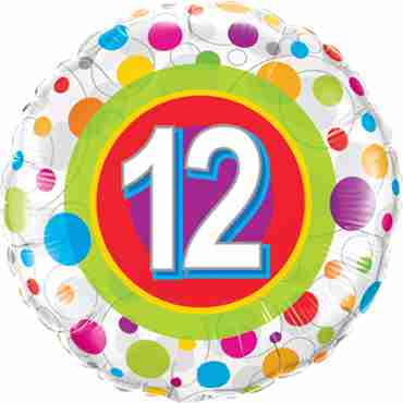 Age 12 Colourful Dots Foil Round 18in/45cm
