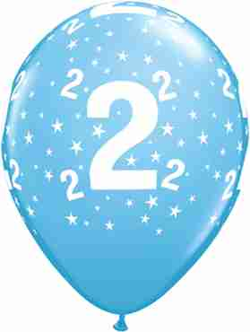 Age 2 Stars Standard Pale Blue Latex Round 11in/27.5cm