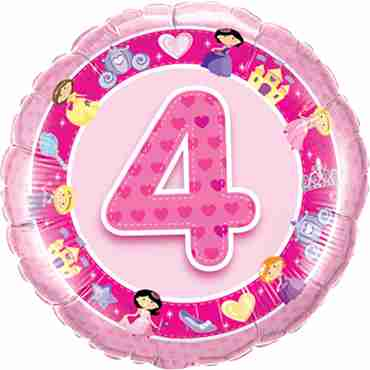 Age 4 Pink Princess Foil Round 18in/45cm