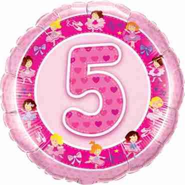 Age 5 Pink Ballerinas Foil Round 18in/45cm