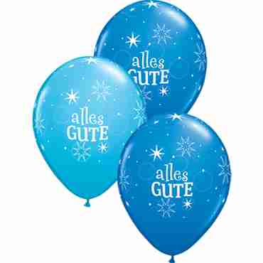 alles gute sparkle standard dark blue and fashion robins egg blue assortment latex round 11in/27.5cm