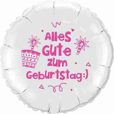 alles gute zum geburtstag:) lass dich ordentlich feiern!! white w/pink ink foil round 18in/45cm