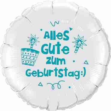 alles gute zum geburtstag:) lass dich ordentlich feiern!! white w/turquoise ink foil round 18in/45cm