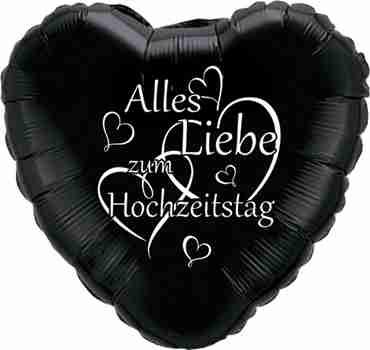 alles liebe zum hochzeitstag black w/white ink foil heart 18in/45cm