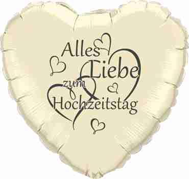 alles liebe zum hochzeitstag ivory w/grey ink foil heart 18in/45cm
