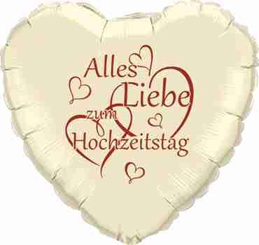 alles liebe zum hochzeitstag ivory w/red ink foil heart 18in/45cm