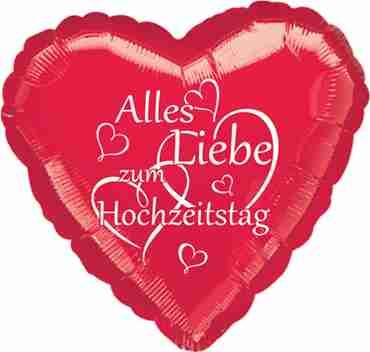 alles liebe zum hochzeitstag metallic red w/white ink foil heart 17in/43cm
