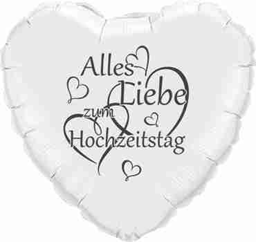alles liebe zum hochzeitstag metallic white w/grey ink foil heart 18in/45cm