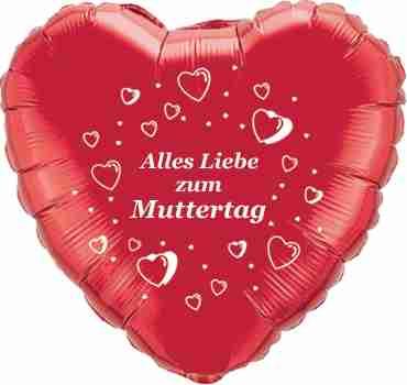 alles liebe zum muttertag metallic red w/white ink foil heart 18in/45cm