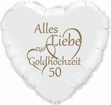 alles liebe zur goldhochzeit 50 metallic white w/gold ink foil heart 18in/45cm