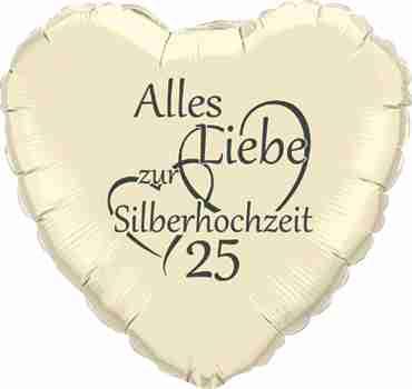alles liebe zur silberhochzeit 25 ivory w/grey ink foil heart 18in/45cm