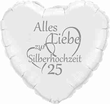 alles liebe zur silberhochzeit 25 metallic white w/silver ink foil heart 18in/45cm
