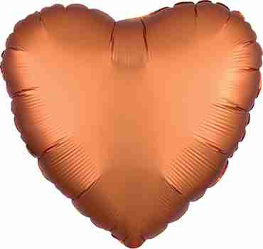 Amber Satin Luxe Foil Heart 17in/43cm