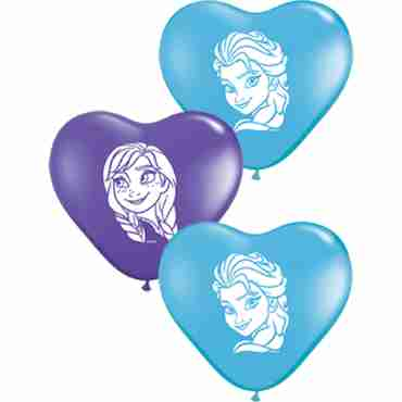 anna and elsa faces standard pale blue and fashion purple violet assortment latex heart 6in/15cm