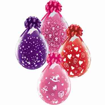 Assortment #2 Stars, Flowers, Babys Nursery and Swirling Hearts Crystal Diamond Clear (Transparent) Latex Round 18in/45cm