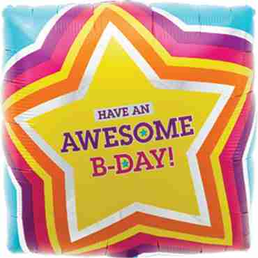 awesome birthday foil square 18in/45cm