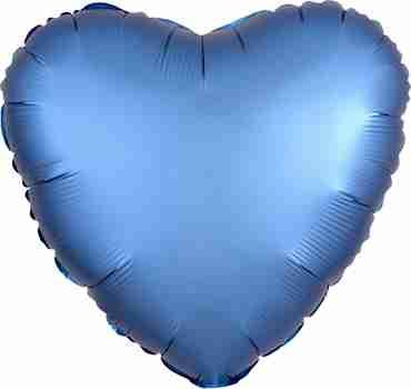 Azure Satin Luxe Foil Heart 17in/43cm
