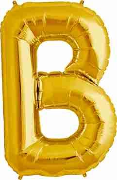 B Gold Foil Letter 16in/40cm