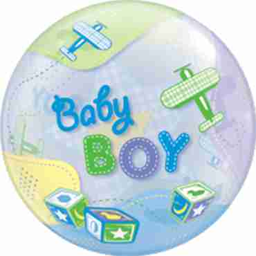 baby boy airplanes single bubble 22in/55cm
