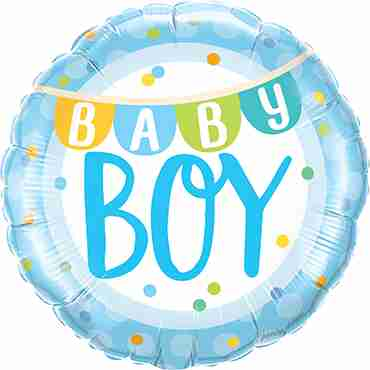 Baby Boy Banner and Dots Foil Round 18in/45cm