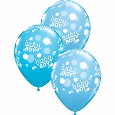 baby boy blue dots standard pale blue and fashion robins egg blue assortment latex round 11in/27.5cm