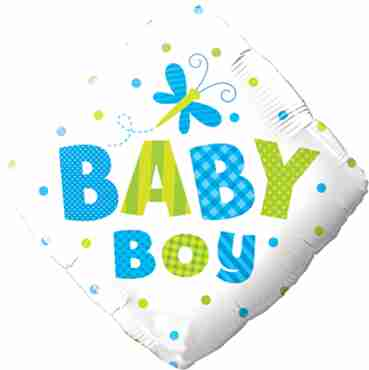 baby boy dots and dragonfly foil diamond 18in/45cm