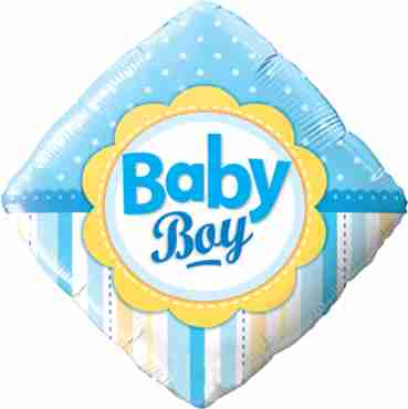 baby boy dots and stripes foil diamond 18in/45cm