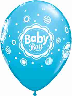baby boy dots fashion robins egg blue latex round 11in/27.5cm
