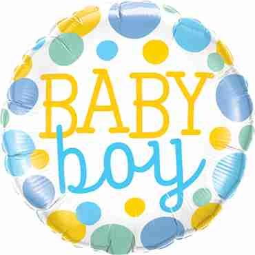 baby boy dots foil round 18in/45cm