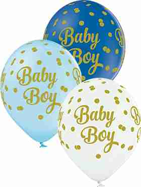 Baby Boy Dots Pastel White, Pastel Sky Blue and Pastel Royal Blue Assortment Latex Round 12in/30cm