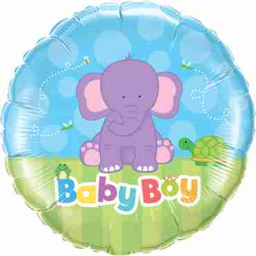 baby boy elephant foil round 18in/45cm