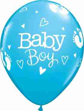 baby boy footprints and hearts fashion robins egg blue latex round 11in/27.5cm