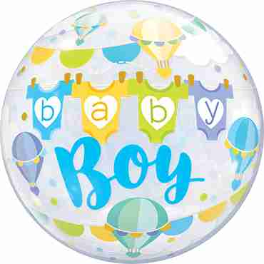 Baby Boy Hot Air Balloons Single Bubble 22in/55cm