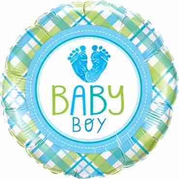 baby boy lo(feet)e foil round 18in/45cm