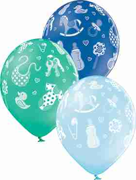 Baby Boy Pastel Sky Blue, Pastel Forest Green and Pastel Royal Blue Assortment Latex Round 12in/30cm
