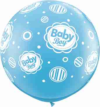 baby boy standard pale blue latex round 36in/90cm